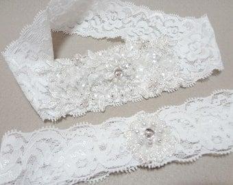 Wedding Garter Set, White Lace Garter Set, White Garter, Lace Garter
