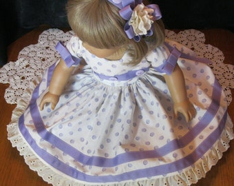 18 inch doll, Purple Polka Dot 2 pc doll dress and headband, vintage style, button,bows, ribbon trim, very full skirted, Waverly fabric