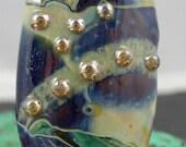 Handmade lampwork focal glass bead pendant tabular shaped SRA free USA shipping turquoise blue aventurine creme tan silver dots