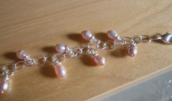 Pink Pearl Silver Bracelet