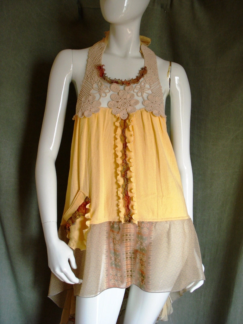 Altered Couture Summer Halter Tunic Reconstructed By Natatusy