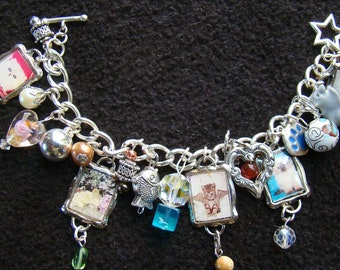 Love Cats - 5 OFF SALE Charity charm bracelet - 7 inch - silver, pink, turquoise, magenta - long-haired cats