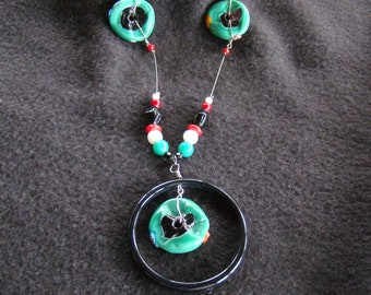 African Trade Bead Floating Necklace - 20 inch - Kwanzaa Gift - Red, Green, Black