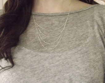 Sterling Silver Drapery Necklace, Simple Silver Cascade Necklace, Everyday Necklace, Chain Drapery Necklace, Silver Chains Necklace