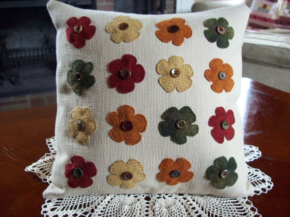 Fall Flowers on Cream Upholstery Fabric Pillow Slipcover
