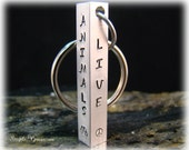 Four Sided Solid Aluminum Keychain - All 4 Sides Personalized