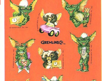 Vintage 1984 Gremlins Hallmark Party Stickers Halloween Decor Scrap Booking