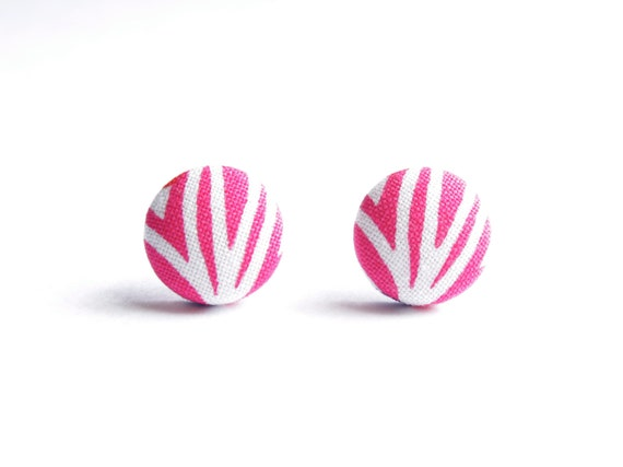 Pink Abstract Print Fabric Covered Button Earrings