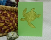 Sea turtle die-cut fabric greeting card (blank inside)
