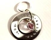 Stainless steel name tag with Swarovski Crystal birthstone charm