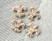 Fridge Magnets Fleur De Lis Wood Hand Painted Brown and White Set of 4