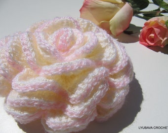 Crochet Rose PATTERN, Beautiful Rose Easy Pattern, Unique Crochet 3d Flowers, DIY Gift Instant Download PDF Pattern No.46 Lyubava Crochet