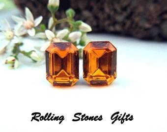 Topaz 8x6mm Swarovski Octagon Rhinestone Stud Earrings-Topaz Crystal Studs-November Birthstone Studs-Octagon Gold Stud Earrings