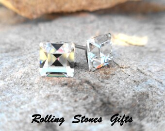 6mm Crystal, Vintage Swarovski, Square Rhinestone, Stud Earrings, Vintage Studs, Square Crystal Studs, Handmade Studs, Small Square Studs