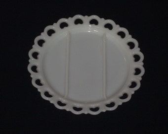 Large Vintage Milk Glass LACE EDGE 3 Part Relish Plate Serving Platter Anchor Hocking