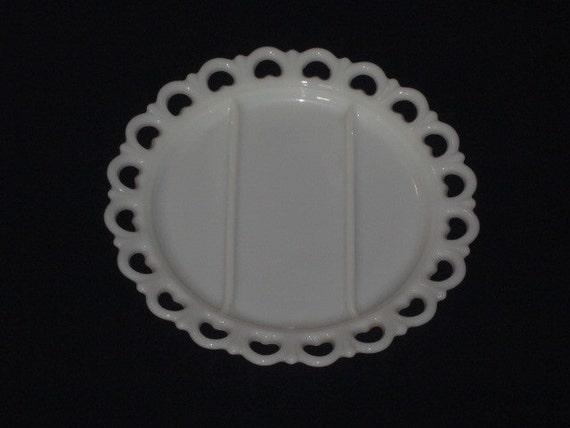 Large Vintage Milk Glass LACE EDGE 3 Part Relish Plate Serving Platter Anchor Hocking