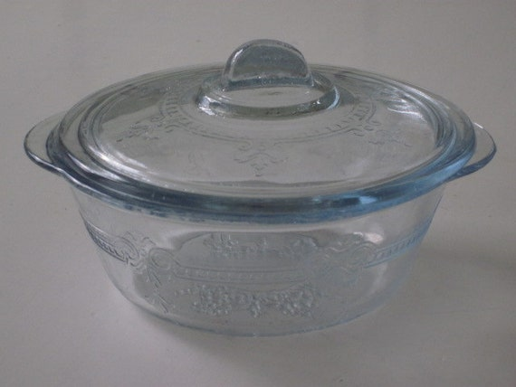 Fire King Sapphire Blue Small Casserole Dish Individual Baker with Lid