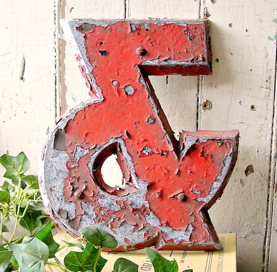 vintage metal ampersand, industrial &, other letters available