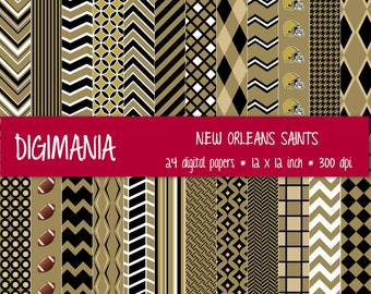 OFF %40 - INSTANT DOWNLOAD - Digital Paper Pack -   New Orleans Saints Colors - Black, Old Gold and White 24 Printable Papers