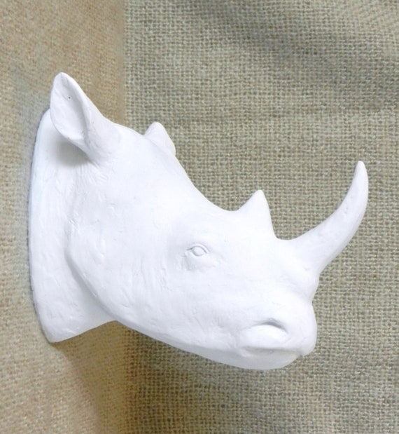 Rhino Wall Mount White Faux Taxidermy Trendy Home Decor Safari Nursery White Rhinoceros Faux Animal Head Wall Mount African Modern Decor