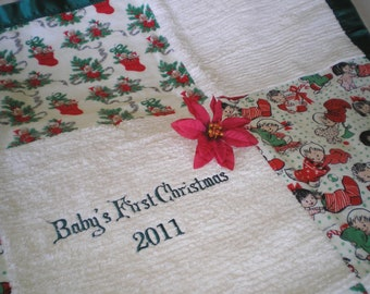 Baby's First Christmas (Personalized) Chenille Blanket - GREEN
