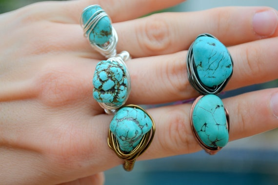 OOAK Turquoise howlite nugget ring -Brass wire wrapped ring - 7 - Any size