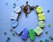 Stamped Polymer Clay Bracelet - Blue Green Texture Tiles