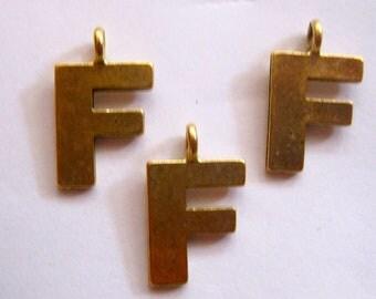 1 ANTIQUE GOLD INITIAL Pendant/Charm