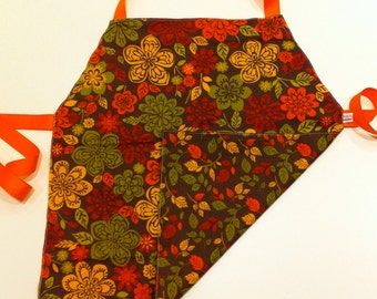 Child's Apron / Smock, reversible autumn flowers and leaves