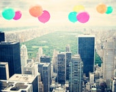 "Central Park - 8x10 photograph - ""Balloons over the Park"" - fine art print - vintage photography - Central Park Photo - New York"