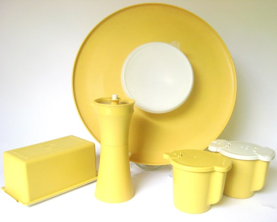 SALE -- Vintage 1970's Tupperware Set in Harvest Gold: Chip & Dip Party Tray, Sugar Cream Butter