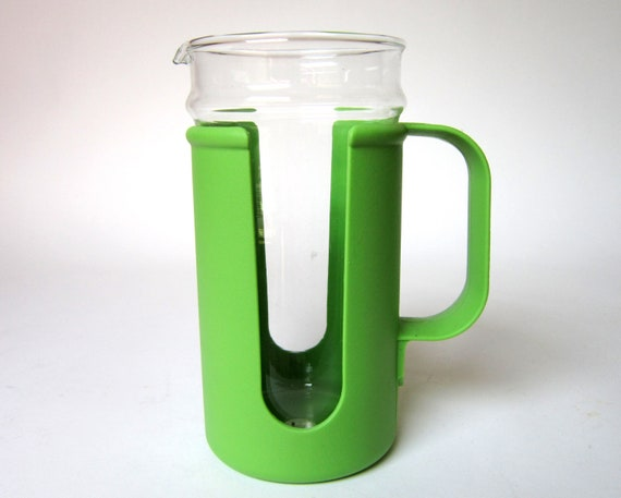 SALE Vintage 1970s Glass Pyrex Pitcher with Green Plastic Sleeve by Corning Ware Corningware, 111-C