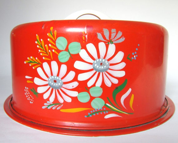 "Vintage 1950s Ransburg ""Kitchen Bouquet"" Cake Carrier, Orange Red with Flowers, Tin Cake Saver Caddy"