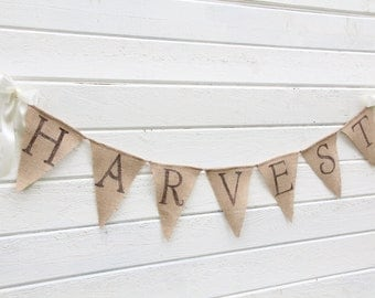 HARVEST burlap banner -glittered brown lettering with shimmery leaves -fall banner- halloween