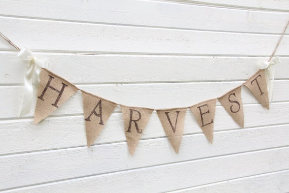 HARVEST burlap banner -glittered brown lettering with shimmery leaves -fall banner- halloween
