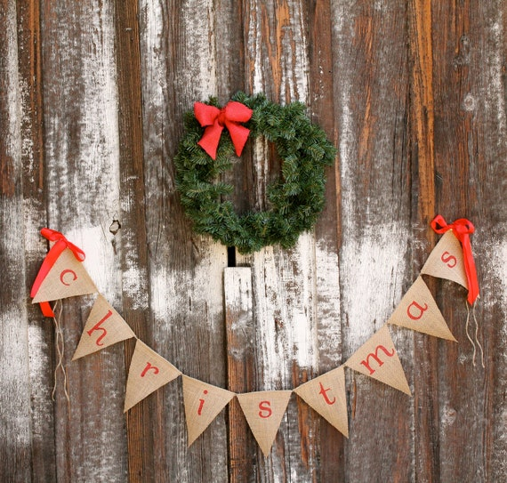 christmas burlap banner - Christmas burlap banner - holiday home decor - christmas garland