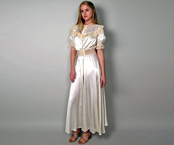 Silk Dressing Gowns Ladies: White Silk & Cream Lace Long Dressing Gown Womens By