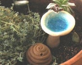 Bird Bath and Bee Scape - Birds and Bees - Miniature pieces for Fairy Garden or Dollhouse - Stoneware Pottery Sculptures