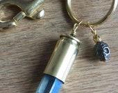 Crystal Bullet Key Chain Bag Charm - Skull - Boho Chic