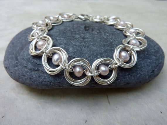 Pale Pink Pearl and Silver Chainmaille Bracelet -- Handmade Jewelry -- Everyday, Special Occasion, Wedding