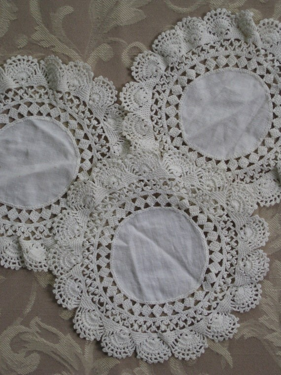 Set of 3 Round Ivory Doilies With Crocheted Lace Trim - Vintage Antique - Handmade