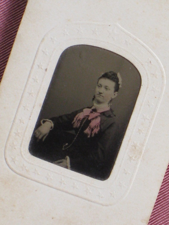Antique 1870s Tintype Photo - Victorian Lady With Tinted Pink Fringed Scarf Bow and Fabulous Jewelry - Stars Border