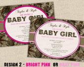 PINK Camo Baby Shower Invitation - Design 2 - Hunting Digital DIY Printable