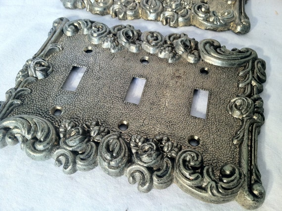 Vintage Brass Triple Light Switch Cover