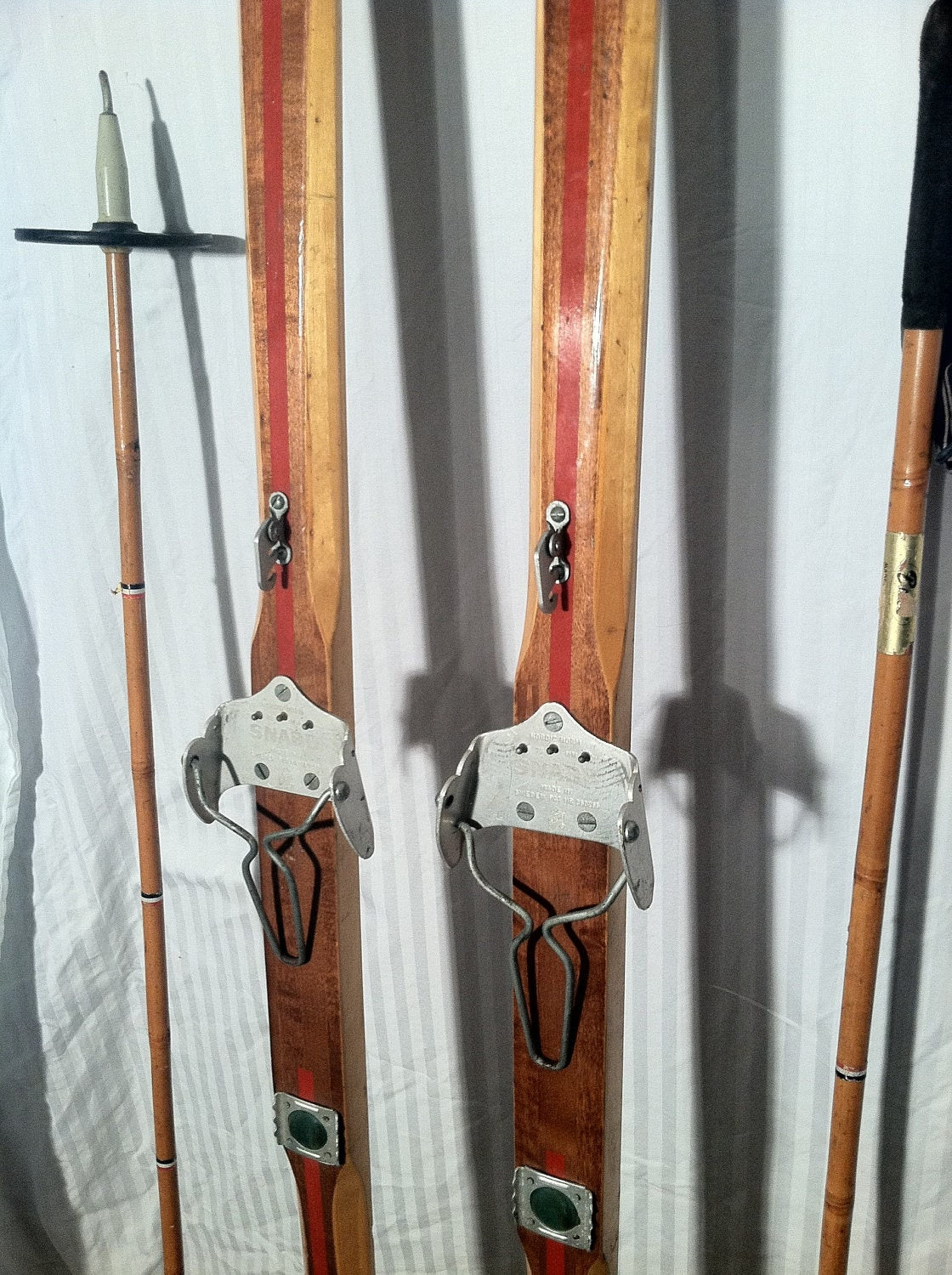 Vintage Wooden Cross Country Snow Skis With Poles