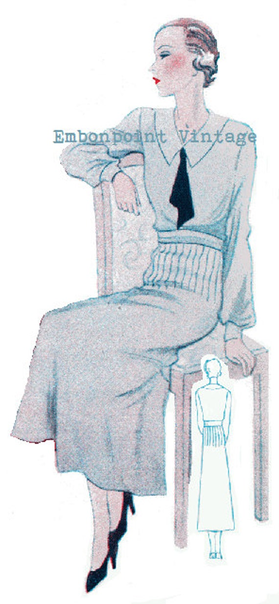 1930s Dresses, Clothing & Patterns Links Plus Size (or any size) Vintage 1934 Dress Pattern - PDF - Pattern No 91 Arlina $9.88 AT vintagedancer.com