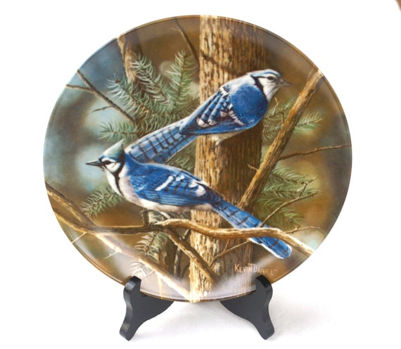 """Porcelain Collectible Plate """"The Blue Jay"""" Encyclopedia Britannica Birds of Your Garden by Kevin Daniels"""