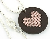 ON SALE!! Cross Stitch Kit, DIY Jewelry Kit, Embroidered Necklace, Leather Pendant Necklace with Stitched Heart, Valentine's Day, 25% off