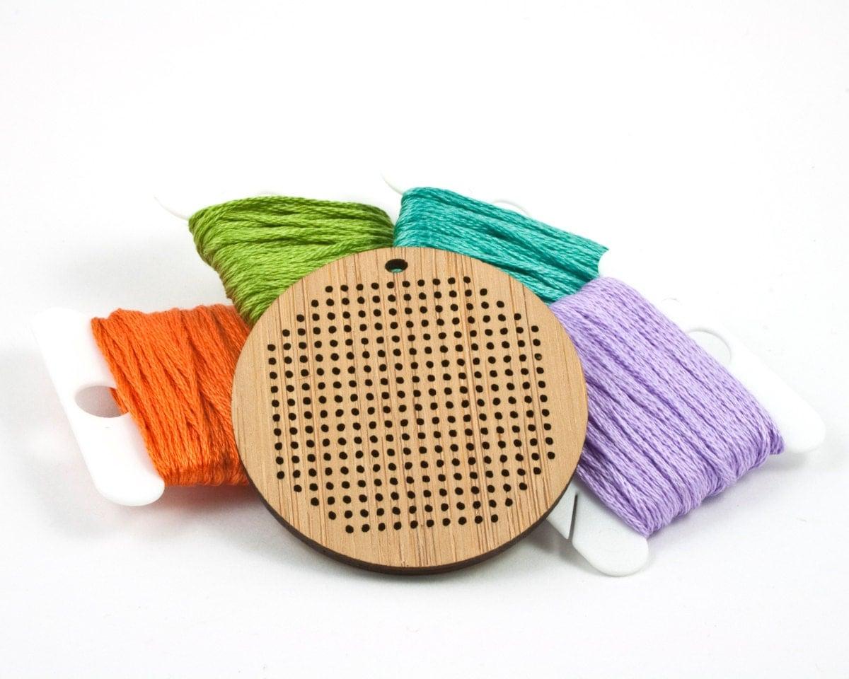 Diy cross stitch necklace bamboo pendant blank round
