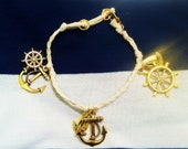 OOAK Cream Colored Cord and Gold Sea Theme Charm Bracelet